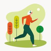 ältere Frau, die draußen joggt vektor