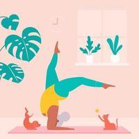 ältere Frau, die Yoga mit Haustieren zu Hause trainiert vektor