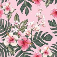 nahtloser rosa Hibiskus mit Blumenmuster vektor
