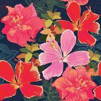 nahtloses Muster bunte Hibiskusblüten-01.eps vektor