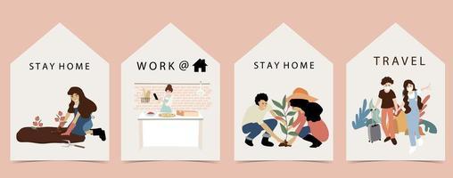 Menschen bleiben und arbeiten zu Hause Design.