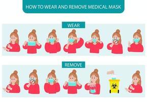 wie man Maske Schritt für Schritt trägt und entfernt, während die Frau demonstriert