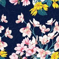 gelbes und rosa Blumenmuster vektor