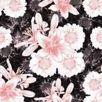 vintage lilly och zinnia blommor vektor