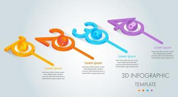 bunte isometrische Geschäftsinfografik 3d