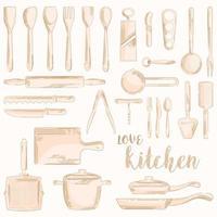 handgezeichnete Vintage Küchenutensilien Ikonen vektor