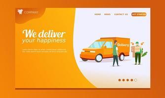 leverans målsida med lastbil och leveransman vektor
