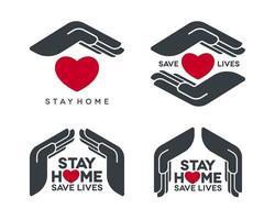 Bleib zu Hause rette Leben Ikonen mit den Händen gesetzt
