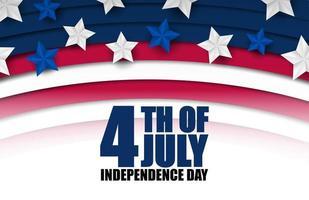 4: e juli banner med böjda ränder och stjärnor vektor