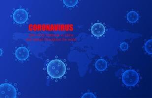 blaue Coronavirus-Zellen und Weltkarten-Design