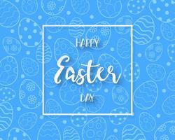 glad påskdag ram och blått ägg mönster vektor