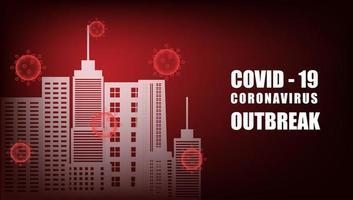 stad omgiven av röda coronavirusceller på röd lutning vektor