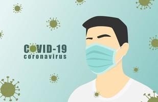 affisch med coronavirusceller och man som bär mask