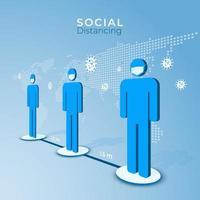 grundlegendes soziales Distanzierungsplakat mit isometrischen flachen Figuren