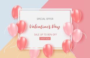 Valentinstag Verkauf Banner Vorlage mit rosa Luftballons vektor