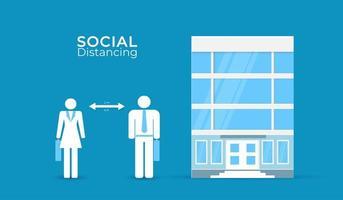 soziale Distanzierung bei Büroplakat