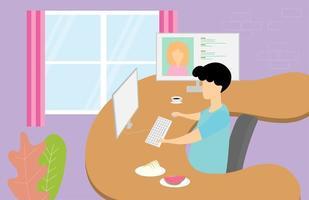 Mann am Computer arbeitet und trifft eine Frau vektor