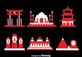 Welt Wahrzeichen Icons Vektor