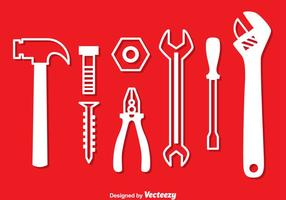 Reparatur-Werkzeuge White Icons vektor