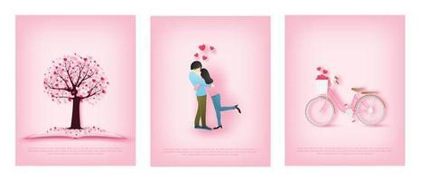 Papierkunstkarten mit Paar, Fahrrad und Herzbaum vektor