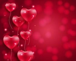 hjärtformade ballonger på röd bokeh med copyspace