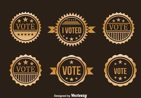 Präsidentschaftswahl Gold Abzeichen Vektor Set