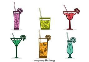 Assorterad Cocktail Ikoner Vector