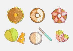 Bagel platt ikonuppsättning