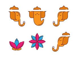 Ganesh Figur Set vektor