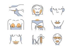 Plastische Chirurgie Symbole vektor