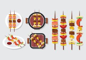 Brochette Kebab Spieße Icons Vektor