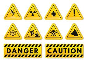 Kostenlose Warnung und Vorsicht Zeichen Vektor