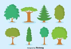 Green Tree Collection Set Vektor