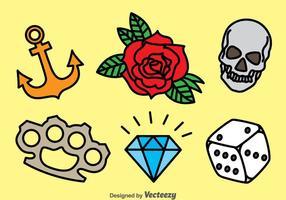 Gammal skola tatuering vektor uppsättning