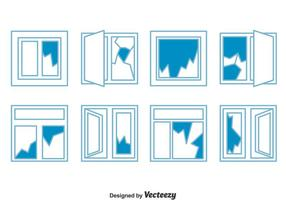 Trasig fönsteruppsamlingsvektor vektor