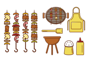 Brochette Kebab Skewers Ikoner Vector