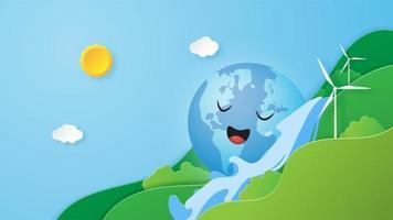 jorddagen lycklig jordklot på vattenfallet vektor