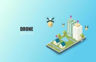 isometrische Online-Lieferung per Drohnen-Service vektor