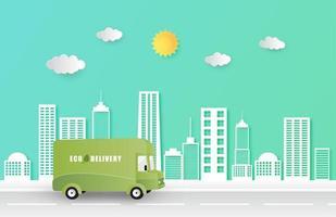 online-leveransservice leverans eco skåpbil vektor