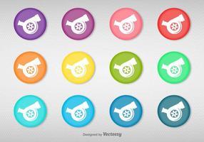 Vektor uppsättning av färgglada knappar med turboladdare Ikon