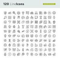 uppsättning ikoner för utbildning och miljö vektor