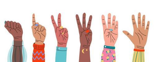 Satz Hände, die mit den Fingern bis fünf zählen vektor