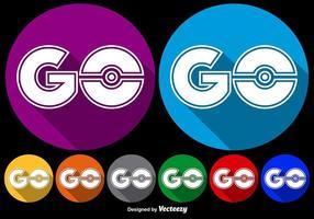 Vector Flat Go Symbol Icons Für Pokemon Spiel