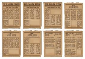 Alte Zeitung Vorlage Vektor-Set