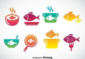 Kochen Fisch Icons Set vektor