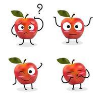 Apfel-Cartoon-Zeichensatz mit verwirrtem Apfel vektor