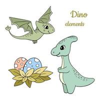 handgezeichnete Dinosaurier gesetzt vektor