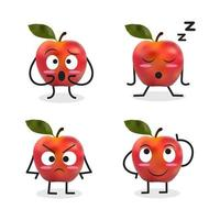 apple tecknad karaktär uppsättning inklusive trött äpple