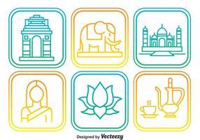 Indien Elemnt Outline Icons vektor