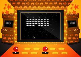 Arkad Invaders Spel Illustrations Vektor